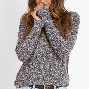Free People Marked Knit Black and White Sweater XS